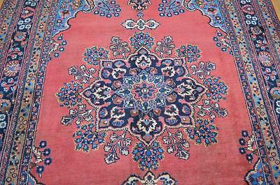 6'4x9'4 Beautiful 1940s Authentic Antique Persian Sarouk Handmade Wool Area Rug