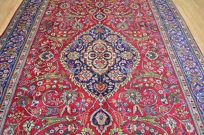 7'2x9'10 Stunning Genuine Semi Antique Persian Tabriz Hand Knotted Wool Area Rug