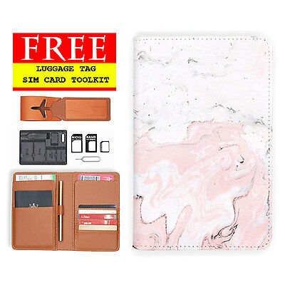 Rfid Blocking Anti Scan Travel Passport Wallet Holder Pouch Cover Marble Pink