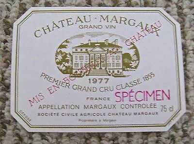 Vintage Wine Label 1977 Chateau -Margaux Grand Vin Cru Classe Specimen