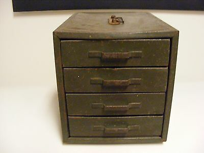 Vintage Green 4 Drawer Metal Storage Parts Cabinet