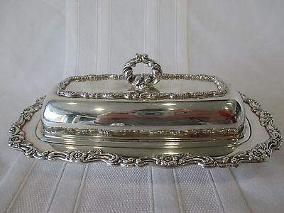 WM A Rogers Silverplate 3-Piece Butter Dish with Glass Insert