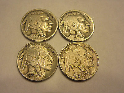 1924-D,1925-s,1930-S,1937-S 5C Buffalo Nickel VG - AU conditions