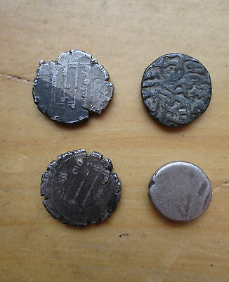 Lot of FOUR Authentic ANCIENT Islamic INDIA? Mughal? Egyptian SILVER COINS LooK!