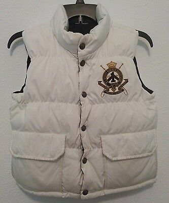 Ralph Lauren Youth Large (12-14) Reversible Puffer Vest,  Ivory/ Navy