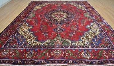9'4x12'4 Nice Genuine Antique Persian Tabriz Hand Knotted Oriental Wool Area Rug