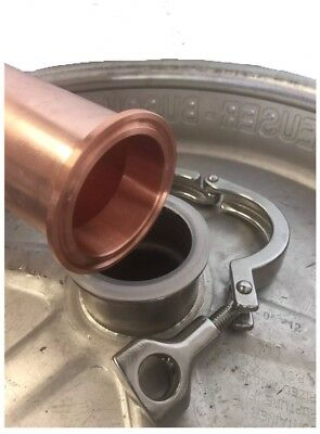 "2"" Copper Tri Clamp Ferrule Beer Keg Still Adapter Fits 2"" Copper Pipe No clamp"