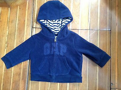 Real Baby Gap Hoodie Jumper Size 0 Age 6-12 Months Blue In Excellent Condition