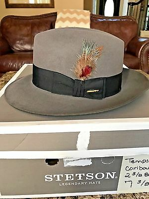"""Stetson """"temple"""" Soverieign Caribou Size 7 3/8 Great Dress Fedora!"""