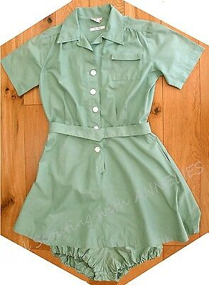 RARE 1940s Girl Scout Camp Uniform DRESS BLOOMERS BELT Halloween Costume
