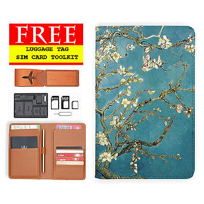 Rfid Blocking Anti Scan Travel Passport Wallet Holder Pouch Cover Almond Blossom
