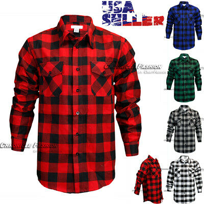 Mens Brawny Buffalo Plaid Flannel Shirt Casual Long Sleeves Button Front Check