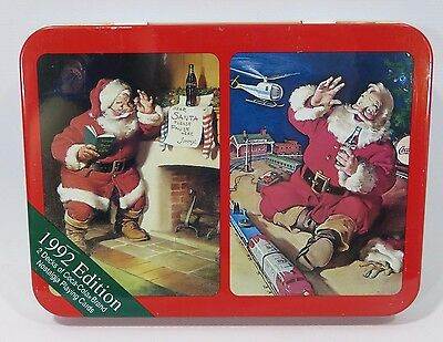 Coca Cola Nostalgia Playing Cards 1992 Collectors Tin Santa Christmas JH