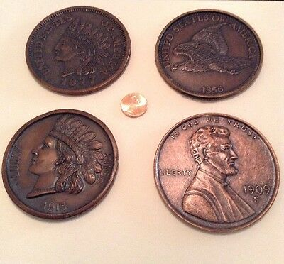 """Vintage Lot Of Four Different Large 3"""" Novelty One Cent/penny Coins..."""
