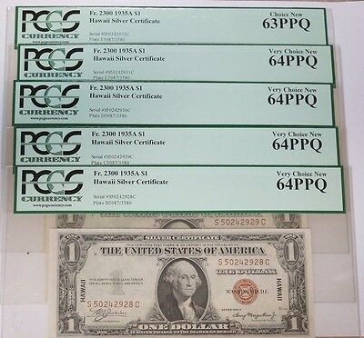 5-1935 A $1 One Dollar Hawaii Silver Certificate Consecutive Serial PCGS 64PPQ