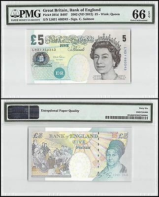 Great Britain 5 Pounds, 2002 (ND 2012), P-391d,UNC,Queen Elizabeth II,PMG 66 EPQ