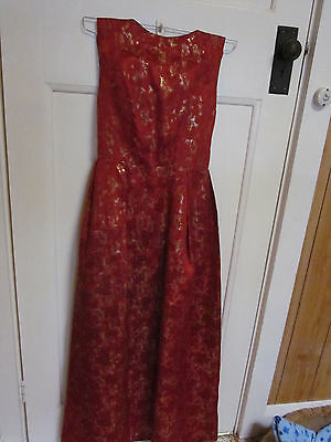 1960s,floor length gown.Red and gold colour.Size 8-small size 10.
