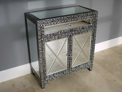 New Embossed Black Silver Mirrored Metal Cabinet Cupboard Chest Of Drawers 67cm