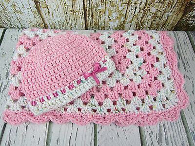 67e122793 CROCHET BABY BLANKET with hat, pink white granny square afghan, 3-6 ...