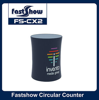 Round Fabric Tension Counter Trade Show Display Table with Custom Graphic