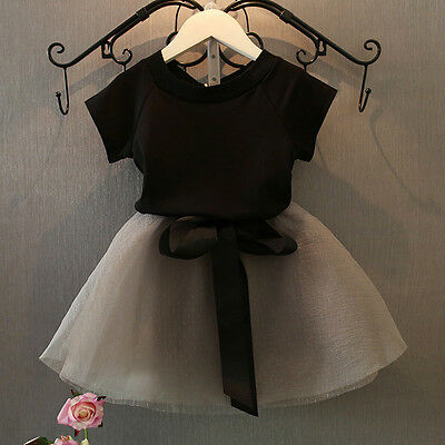 2pcs Fashion Toddler Kids Baby Girl Tops+Skirt Tulle Dress Party Wedding Outfit