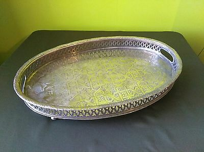 Vintage engraved Arab Moroccan Islamic Muslim Orientalist (coin silver?) tray