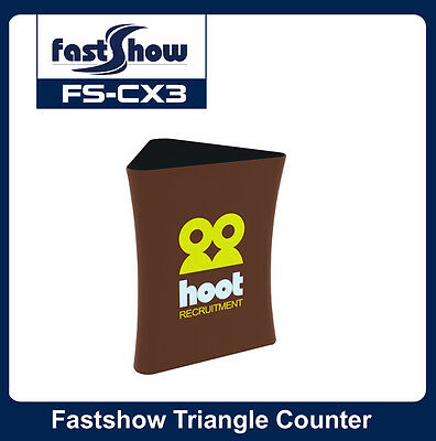 Triangle Fabric Tension Counter Trade Show Display Table with Custom Graphic