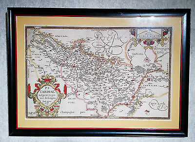 1579 Original Handcolored Antique Map of Renaissance Picardy France 435 yrs old!