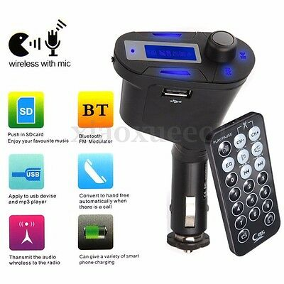Bluetooth Car FM Transmitter Wireless MP3 Radio USB Phone Charger 3.5mm AUX SD