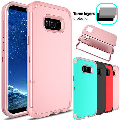 For Samsung Galaxy S8/ S8+ Plus Slim Hybrid Shockproof Rubber Armor Case Cover