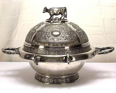 Simpson Hall Miller Figural Cow Dome Covered Butter/Cheese Dish Quadruple Plate