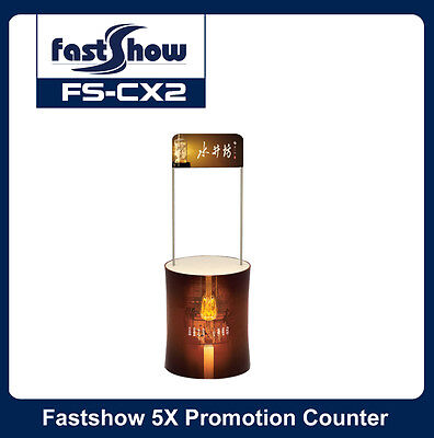 Round Fabric Promotion Counter Trade Show Display Table with Custom Graphic