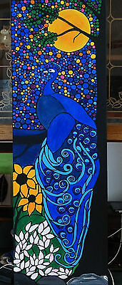Art, beautiful peacock painting, birds, abstract 12x36 framed original painting