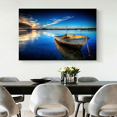 Framed Canvas prints Ocean time-lapse Beach boat view ocean modern wall art