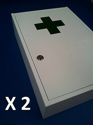 2 X First Aid Medical Cabinet Kit Medicine Box Steel Lock And Key Large