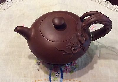 Chinese YIXING Zisha Teapot deco 20th C Artist Carved & Signed