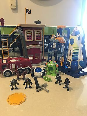 Fisher Price Imaginext Bulk Lot Space Station Fire Station