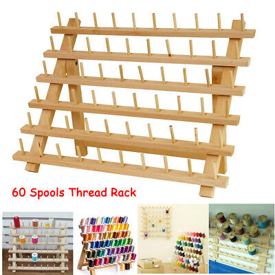 60 Spools Thread Rack Wood Folded Sewing Embroidery Storage Stand Holder 40x32cm
