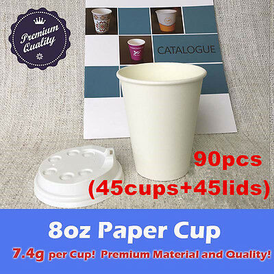 90pcs/45set 8oz Coffee paper cup+lid 7.4g each White Eco disposable take away