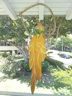 """Handcrafted carved wood 26"""" yellow parrot hanging on bush vine indoor/outdoor"""