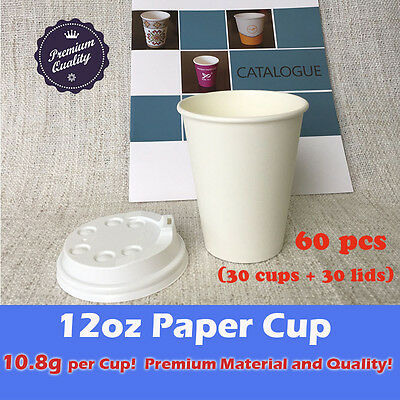 60pcs/30sets 12oz Disposable paper cups with lids White 7.4g Material Takeaway