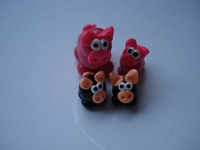 Set of 4 Miniature Polymer Clay Pig Figurines