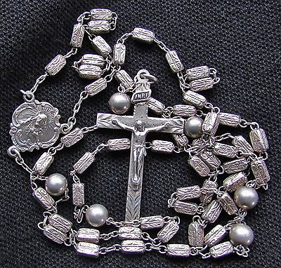 """Vintage Antique Sterling Silver Etched Catholic Rosary Religious 19g 31""""  NICE !"""