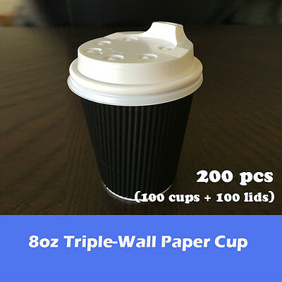 200pcs/100sets 8oz Disposable Coffee Cups W/Lid Triple Wall Black Party Takeaway