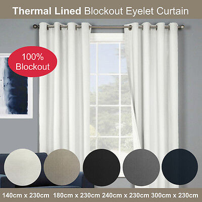 X 2 Quickfit Blockout Eyelet Curtains Thermal Foam Coated 100% Blockout
