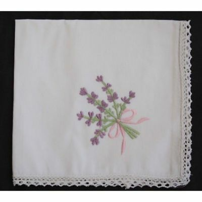 Embroidered Cotton Handkerchief with Cotton Lace Border - Lavender Bow