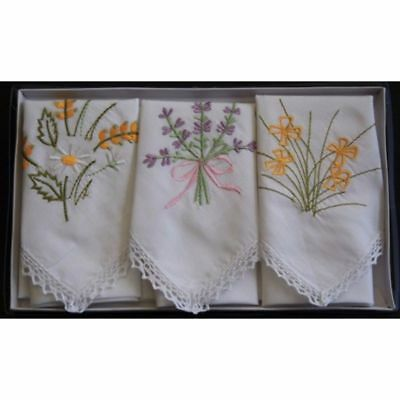Embroidered Cotton Handkerchiefs - Set of 3