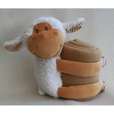 Micro Terry Baby Blanket with Sheep Plush Toy