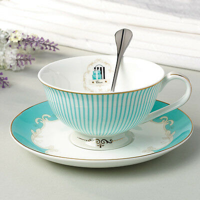 Porcelain Office Coffee Cup Tea Set Luxury Gift Ceramic Mug with Saucer Spoon