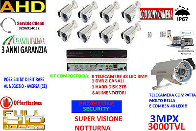Kit Videosorveglianza Ip Cloud Dvr 8 Ch 8 Telecamere Ahd 3Mp 48 Led 2Tb